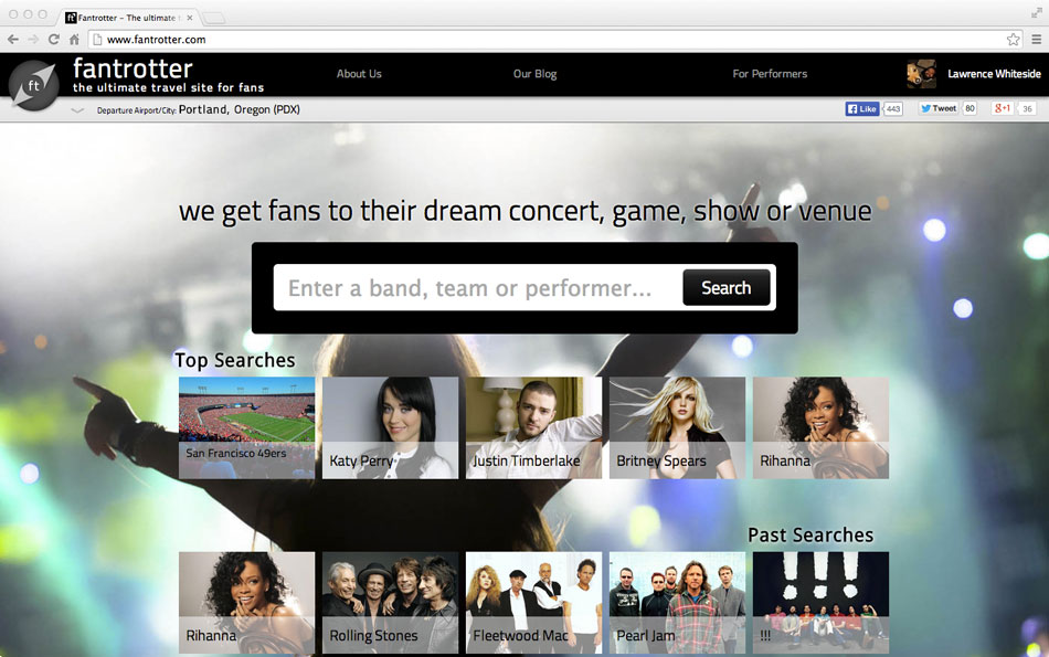 Fantrotter is an event-travel search engine that makes money for the performers.