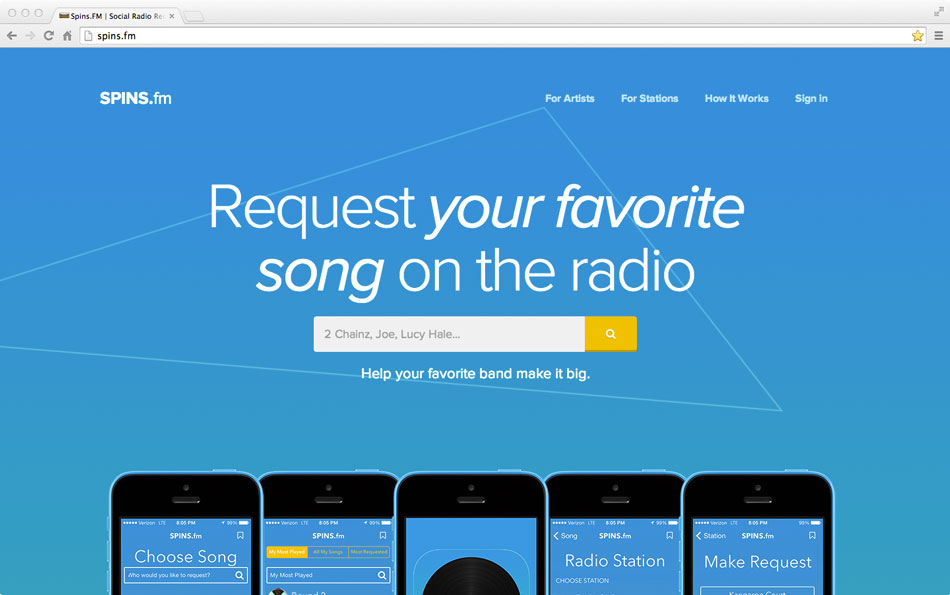 Spins.FM is a radio request app for facebook and iPhone.